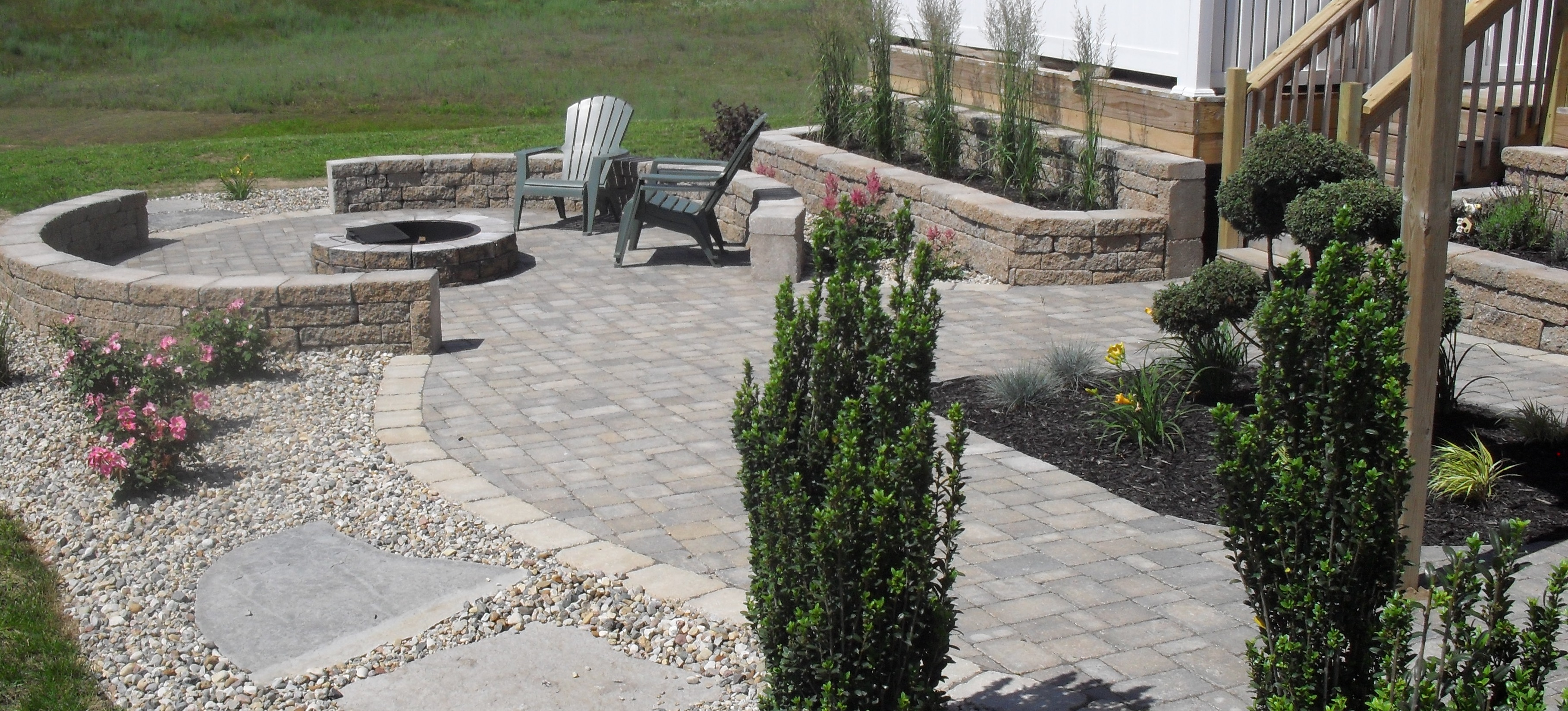 Large Patio with Garden Walls and Firepit