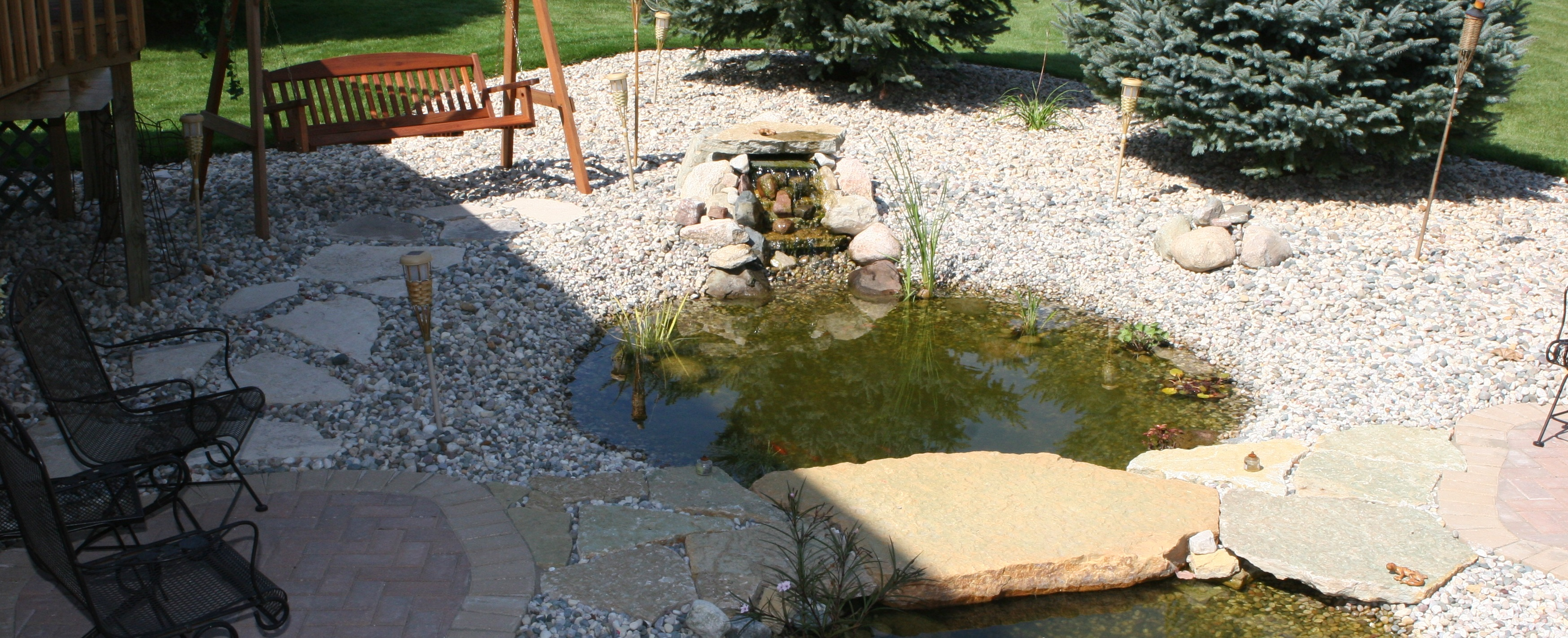 Large Pond Feature with Waterfall and Patio